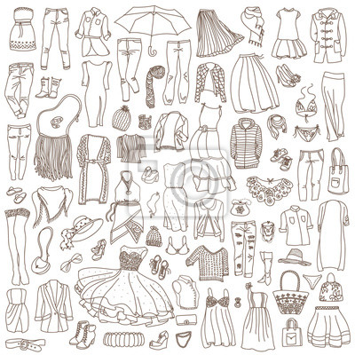 Vector nahtlose Muster von verschiedenen Frauen Kleidung und Accessoires, von Unterwäsche bis Oberbekleidung. Art und Weisegekritzelansammlung.
