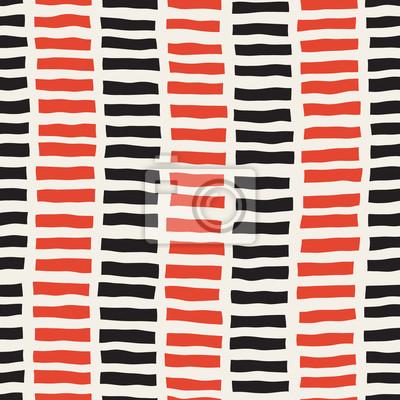 Fototapete Vector Nahtlose Schwarz Weiß Rot Farbe Handgezeichnet Vertikale