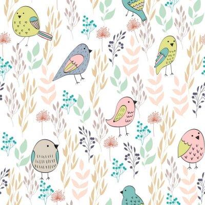 Fototapete Vector nahtloses Muster mit Vögeln und Blumen