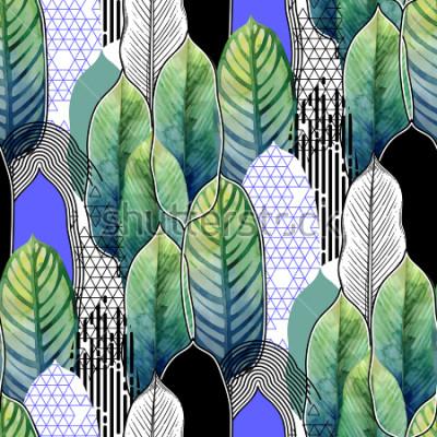 Fototapete Vector nahtloses Muster von exotischen heliconia Blättern, die in Linie künstlerische Techniken der Grafik und des Aquarells gezeichnet werden