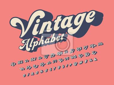 Fototapete Vector of groovy hippie style alphabet design
