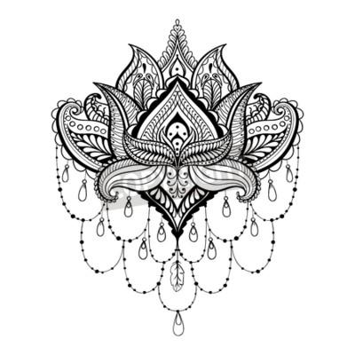 Vector ornamental lotus, ethnische zentangled henna-tattoo ...