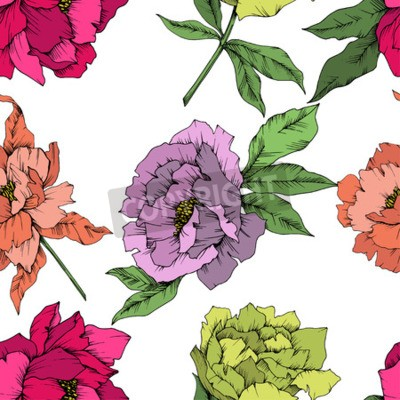 Fototapete Vector Peony floral botanical flower. Wild spring leaf wildflower isolated. Engraved ink art. Seamless background pattern. Fabric wallpaper print texture.
