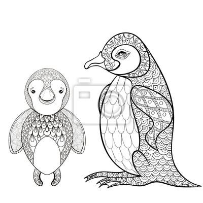 Vector Pinguin Set Für Erwachsene Malvorlage Seite Hand