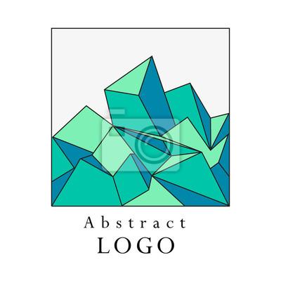 Vector polygonale abstrakte logo-vorlage. kunst farbe geometrische ...