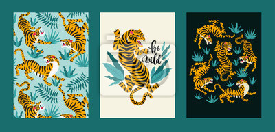 Fototapete Vector poster set of tigers and tropical leaves. Trendy illustration.