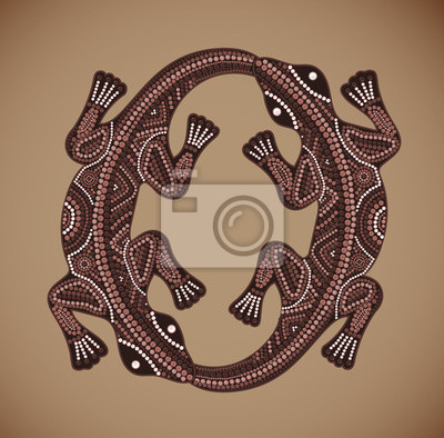 Vector Print traditional African ethnic ornament with two lizard
