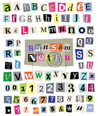 Vector Ransom Hinweis # 1 - Schneiden Papier Buchstaben, Zahlen, Symbole