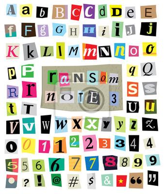 Vector Ransom Note # 3 - Cut Papier Buchstaben, Zahlen, Symbole