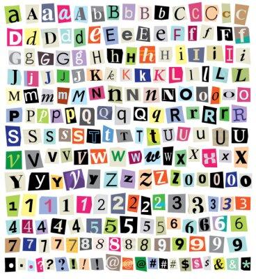 Vector Ransom Note-Cut-Buchstaben, Zahlen, Symbole