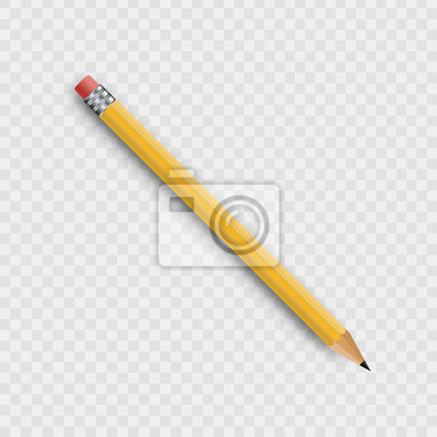 Fototapete Vector realistic isolated wooden yellow pencil on the transparent background for decoration and covering.