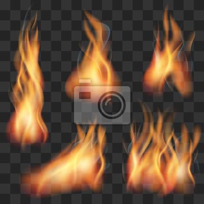 Vector realistische transparent feuer flamme gesetzt. feuer heiß ...
