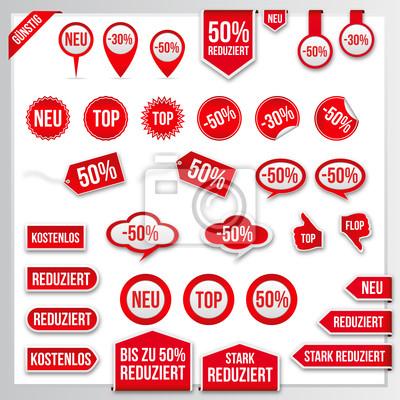 Vector Red Preisschilder Etiketten Aufkleber Pfeile Und Bänder