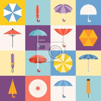 Vector Regenschirm Symbole Sammlung, flache Design