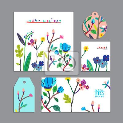 Vector Reihe von Blumen-Karten mit flowers.Invitation, Geschenk-Tag