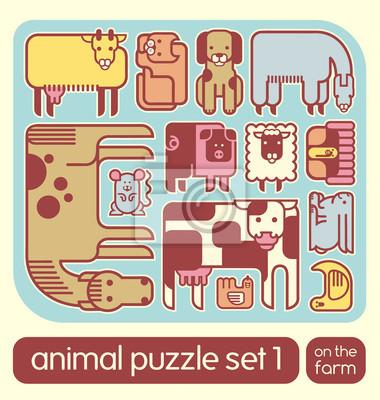 Vector Reihe von cute Nutztieren