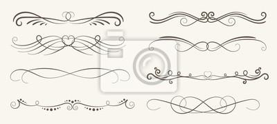 Fototapete Vector Reihe von dekorativen Elementen, Rahmen und Linie Vintage-Stil