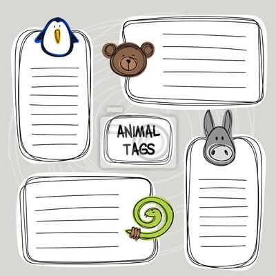 Vector Reihe von Hand gezeichnet lustige Doodle-Tags mit Tieren, Skizze Stil,
