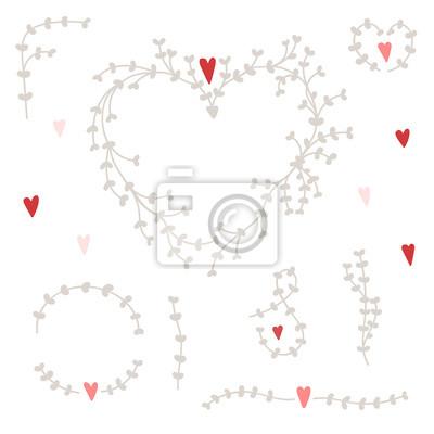 Vector Reihe von Hand gezeichneten Elemente für Hochzeitseinladungen und Valentinstagskarten - Herzen, Zweige, Äste, Grenzen, Rahmen, etc.