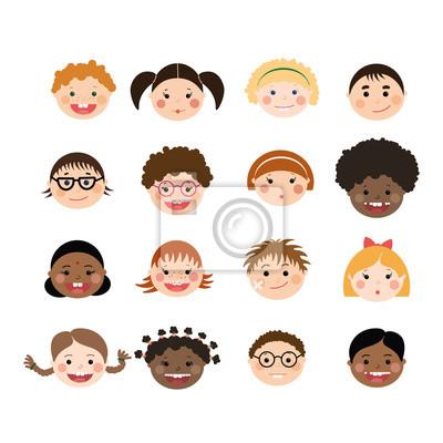 Vector Reihe von Kindern lächelnd Gesichter. Kinder mit verschiedenen Hautfarbe, Jungen und Mädchen mit Frisuren, Gläser, Hosenträger.