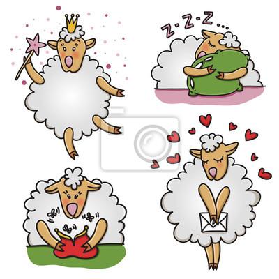 Vector Reihe von lustigen Schafe mit verschiedenen Emotionen. Cartoon Tier Zeichen.