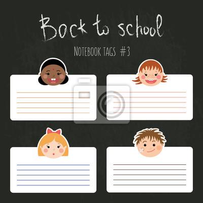 Vector Reihe von lustigen Schultaschen für Notebooks mit chlidren lächelnd Gesichter. Jungen und Mädchen mit verschiedenen Farben Haut, Frisuren, Klammern und Gläser.