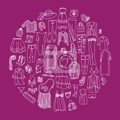 Vector Reihe von verschiedenen Frauen Kleidung und Accessoires, von Unterwäsche bis Oberbekleidung. Art und Weisegekritzelansammlung, gruppiert im Kreis.