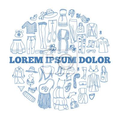 Vector Reihe von verschiedenen Frauen Kleidung und Accessoires, von Unterwäsche bis Oberbekleidung. Art und Weisegekritzelansammlung, gruppiert im Kreis mit Platz für Text.