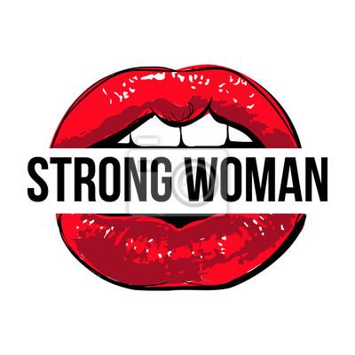 Fototapete Vector Rote Lippen Mit Starkem Frauenzeichen Coole Moderne Illustration