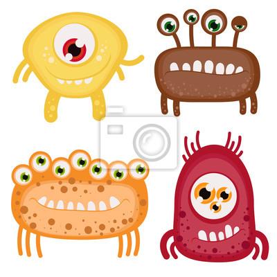 Vector Satz von vier lustigen Monster mit toothy Lächeln und viele Augen. Gut für Kindermaterial, Halloween-Karten und anderes Briefpapier.