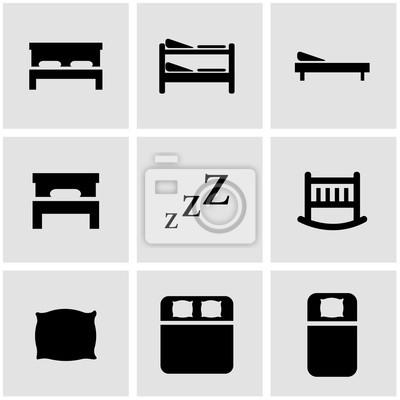 Vector Schwarz Bett Icon Set Fototapete Fototapeten Medicals