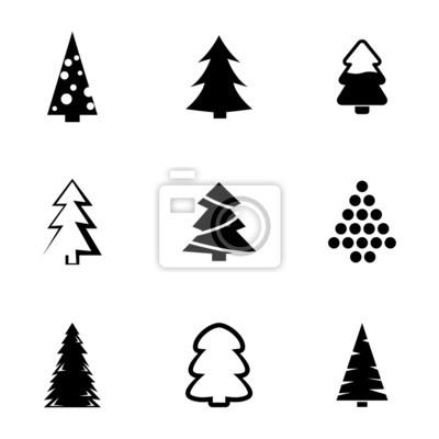 Weihnachtsbaum Schwarz.Fototapete Vector Schwarz Weihnachtsbaum Symbole Gesetzt
