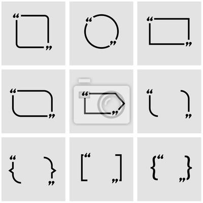 Vector schwarz zitat formular icon-set. zitat-formular icon-objekt ...