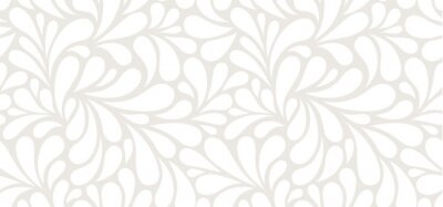 Fototapete Vector seamless beige pattern with white drops. Monochrome abstract floral background.