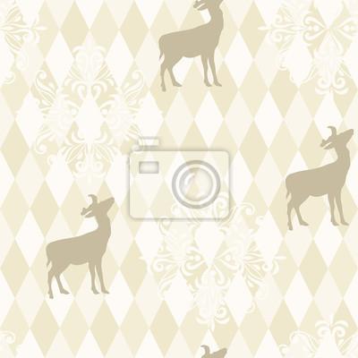 Fototapete Vector seamless Christmas Pattern mit Schneeflocken und deeers