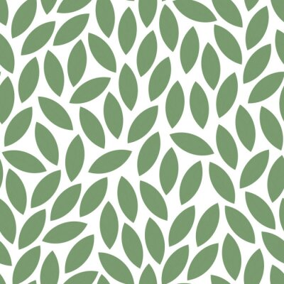 Fototapete Vector seamless leaves pattern - green mosaic design. Hand drawn decorative endless background