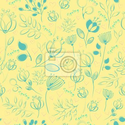 Vector seamless pattern. Blue  flowers