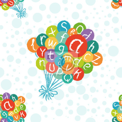 Vector seamless pattern - funny english alphabet. Hand drawn chalk like letters in colorful air balloons.