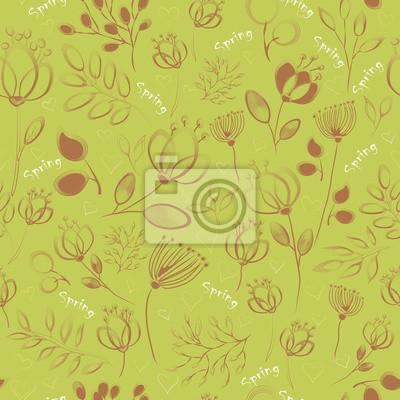Vector seamless pattern. Handwriting flowers