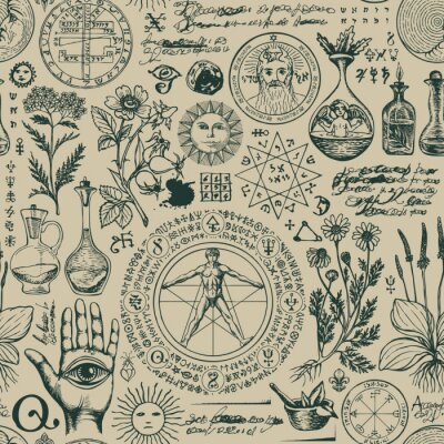 Fototapete Vector seamless pattern on the theme of alchemy and healing in retro style. A repeatable background with hand-drawn sketches, unreadable notes, various herbs and ancient alchemical symbols
