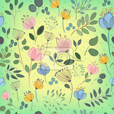 Vector seamless pattern. Watercolor flowers