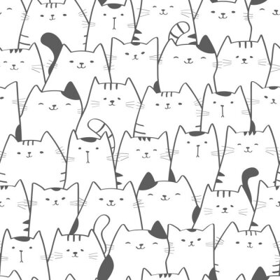 Fototapete Vector seamless pattern with cute cats. Doodle art. Cat seamless hand drawn background