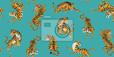 Fototapete Vector seamless pattern with cute tigers on background. Fashionable fabric design.