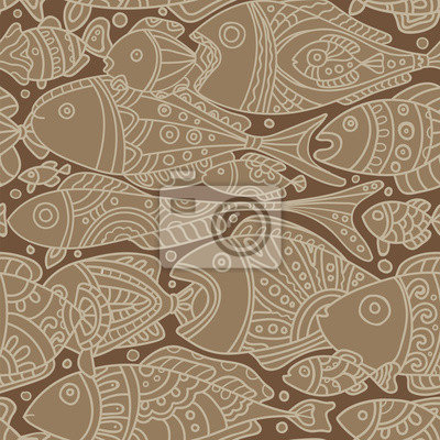 Vector seamless pattern with Fishes braun
