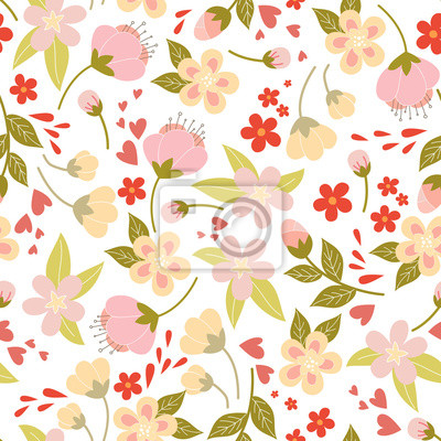 Vector Seamless Pattern With Spring Flowers And Leafs Kids