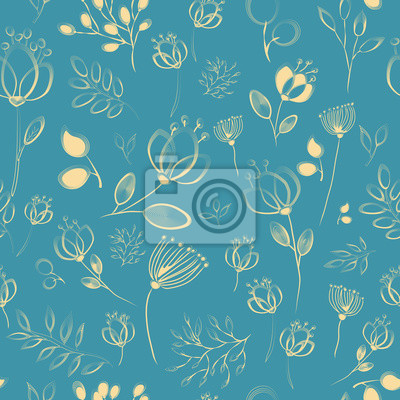 Vector seamless pattern. Yellow flowers