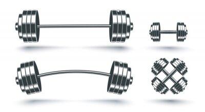 Fototapete Vector set icons of barbells