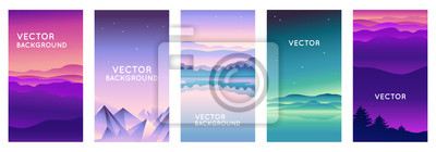 Fototapete Vector set of abstract backgrounds with copy space for text and bright vibrant gradient colors - landscape with mountains and hills  - vertical banners and background for  social media stories, banner