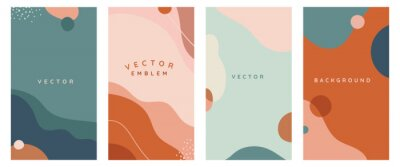 Fototapete Vector set of abstract creative backgrounds in minimal trendy style with copy space for text -