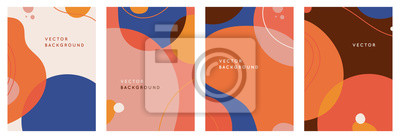 Fototapete Vector set of abstract creative backgrounds in minimal trendy style with copy space for text - design templates for social media stories